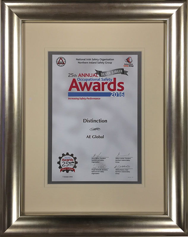 "AE Global awarded ""Distinction"" at Annual Occupational Safety Awards"